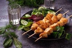 Hühnerkebabs mit grünem Salat Lizenzfreie Stockfotografie