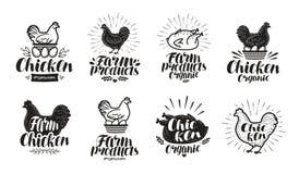 Hühnerkennsatzfamilie Lebensmittel, Geflügelfarm, Fleisch, Eiikone oder Logo Beschriftungs-Vektorillustration lizenzfreie abbildung