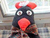 Hühnerkopf trägt Abfalltaschen Lizenzfreie Stockfotografie