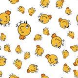 Hühnernahtloses Muster in der Karikaturart stock abbildung