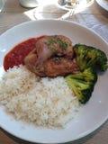 Hühnerreis mit Tomatensauce und Brokkoli Stockbild