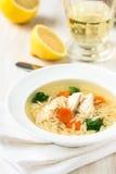 Hühnersuppe mit Gemüse und orzo Lizenzfreies Stockfoto