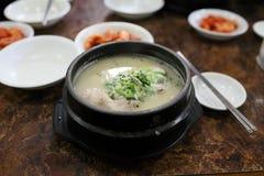 Hühnersuppe mit Ginseng und in Essig eingelegtem Gemüse Lizenzfreie Stockfotos