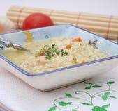 Hühnersuppe mit Reis stockbild