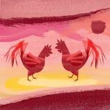 Hühnertapete newyear Stockbilder