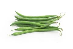 Hülsen der grünen Bohnen dünn Stockfoto