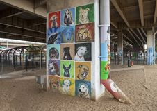 Hündchen-themenorientierte Kunst im Barken-Park zentral, tiefes Ellum, Texas lizenzfreies stockbild