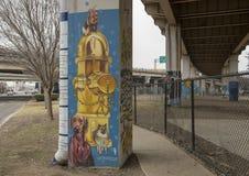 Hündchen-themenorientierte Kunst im Barken-Park zentral, tiefes Ellum, Texas stockfoto