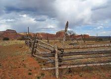 Hürde am Gehöft auf Geist-Ranch, New Mexiko Stockbilder