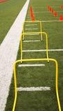 Hürden und Kegeleinrichtung auf einem truf Feld lizenzfreies stockfoto