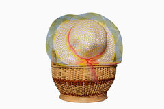 Hüte gesponnen im Korb lizenzfreie stockfotos