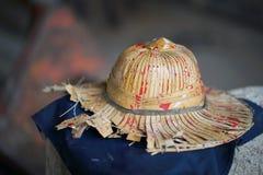 Hüte hergestellt von den Palmblättern stockfoto