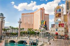 Hüten Sie Insel-Hotel- und Kasinoansicht vom venetianischen Lizenzfreies Stockfoto