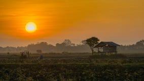 Hütte im Ackerland von Leuten in der Landschaft Thailand Lizenzfreies Stockbild