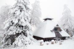 Hütte im Winterwald Stockbild