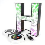 ` H与电子游戏控制器的` 3d信件 库存照片