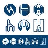 H信件物产和建筑商标为企业公司标志设计 图库摄影