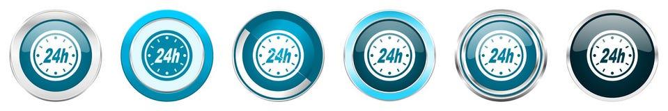 24h在6个选择的银色金属镀铬物边界象,被设置在白色背景隔绝的网蓝色圆的按钮 向量例证