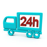 24h σύμβολο φορτηγών παράδοσης, τρισδιάστατο Στοκ εικόνες με δικαίωμα ελεύθερης χρήσης