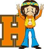 H для персонажа из мультфильма Hippie Стоковое фото RF