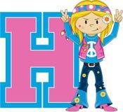 H для персонажа из мультфильма Hippie Стоковая Фотография