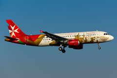 9H-AEO Air Malta Airbus A320. At Istanbul Atatürk Airport Special Valetta Livery stock image