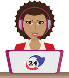 24h all the time customer support center via phone operator service icons illustration Royalty Free Stock Photography