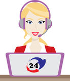 24h all the time customer support center via phone operator service icons illustration. 24h all the time customer support center via phone mail operator service Royalty Free Stock Images