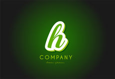 H alphabet letter logo green 3d company vector icon design Stock Images
