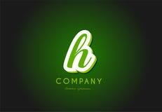 H alphabet letter logo green 3d company vector icon design. H alphabet letter hand written hand writing green white logo 3d vector creative company icon design vector illustration