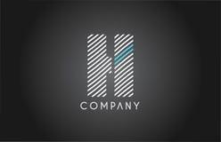 H alphabet line stripe white blue letter logo icon design Stock Photo