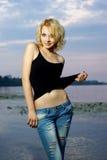härlig blond flickastående Fotografering för Bildbyråer