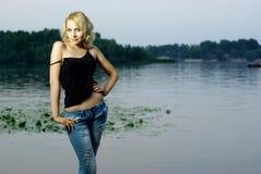 härlig blond flickastående Royaltyfria Bilder