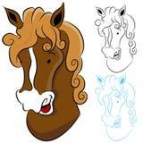 häst för teckningshuvud Arkivfoton