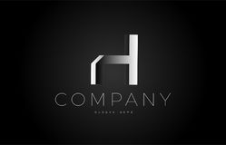 H black white silver letter logo design icon alphabet 3d Royalty Free Stock Image