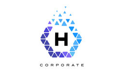 H Blue Hexagon Letter Logo with Triangles. H Blue Hexagon Letter Logo Design with Blue Mosaic Triangles Pattern stock illustration