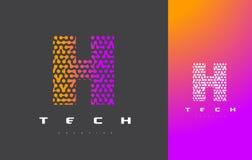 H-bokstav Logo Technology FörbindelseDots Letter Design Vector Royaltyfri Bild