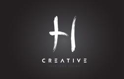 H Brush Letter Logo Design. Artistic Handwritten Letters Logo Co Stock Photo