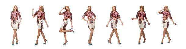 H?bsches Modell in der Kleidung mit den Teppichdrucken lokalisiert auf Wei? lizenzfreie stockbilder