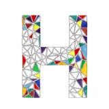 H-Buchstabe im Aquarell deckte Mosaik im geometrischen Stil mit Ziegeln Stockfotos