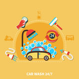 24h Car Wash Composition. Car wash round composition with doodle car in soap bubbles machinery shower hose and cleaning agents vector illustration Royalty Free Stock Photos
