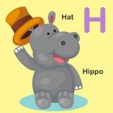 H-chapeau animal de lettre d'alphabet d'isolement par illustration, hippopotame Photo stock