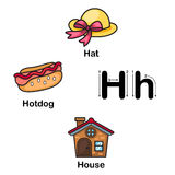 H-chapeau de lettre d'alphabet, hot dog, illustration de maison illustration libre de droits