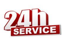 24h de dienst rode witte banner - brieven en blok Stock Afbeelding
