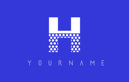 H Dotted Letter Logo Design with Blue Background. Royalty Free Stock Photography