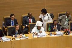 H.E. Dr. Nkosazana Dlamini-Zuma, H.E. Ban Ki-moom und H.E. Ato H Lizenzfreies Stockbild