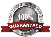 24h emergency service 100% guaranteed. Badge Royalty Free Illustration