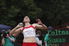 H eptathlonist Susan Coltman in put shot Royalty Free Stock Image