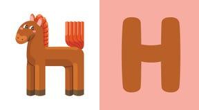 H est pour le cheval Lettre H Cheval, illustration mignonne blanc animal de vecteur de fonds d'image d'alphabet Images stock