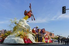 24h Fitness sports style float in the famous Rose Parade. Pasadena, JAN 1: 24h Fitness sports style float in the famous Rose Parade - America's New Year royalty free stock photos